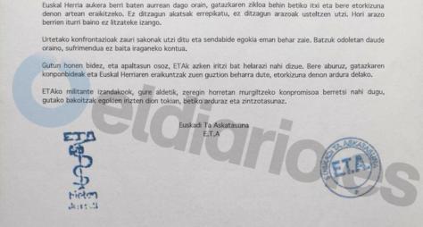 Segunda página de la carta remitida por ETA