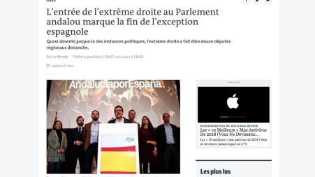 El editorial de Le Monde sobre Vox y la extrema derecha en España.