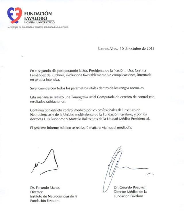Parte médico Cristina Kirchner