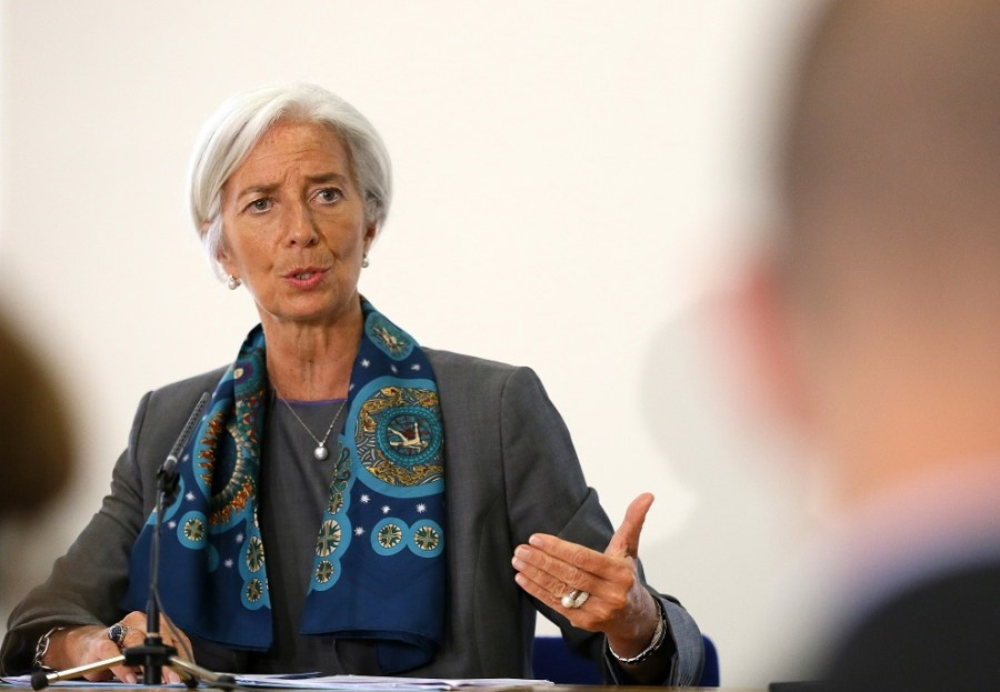 imf managing director christine lagarde prepares to host a news conference at the treasury, in london