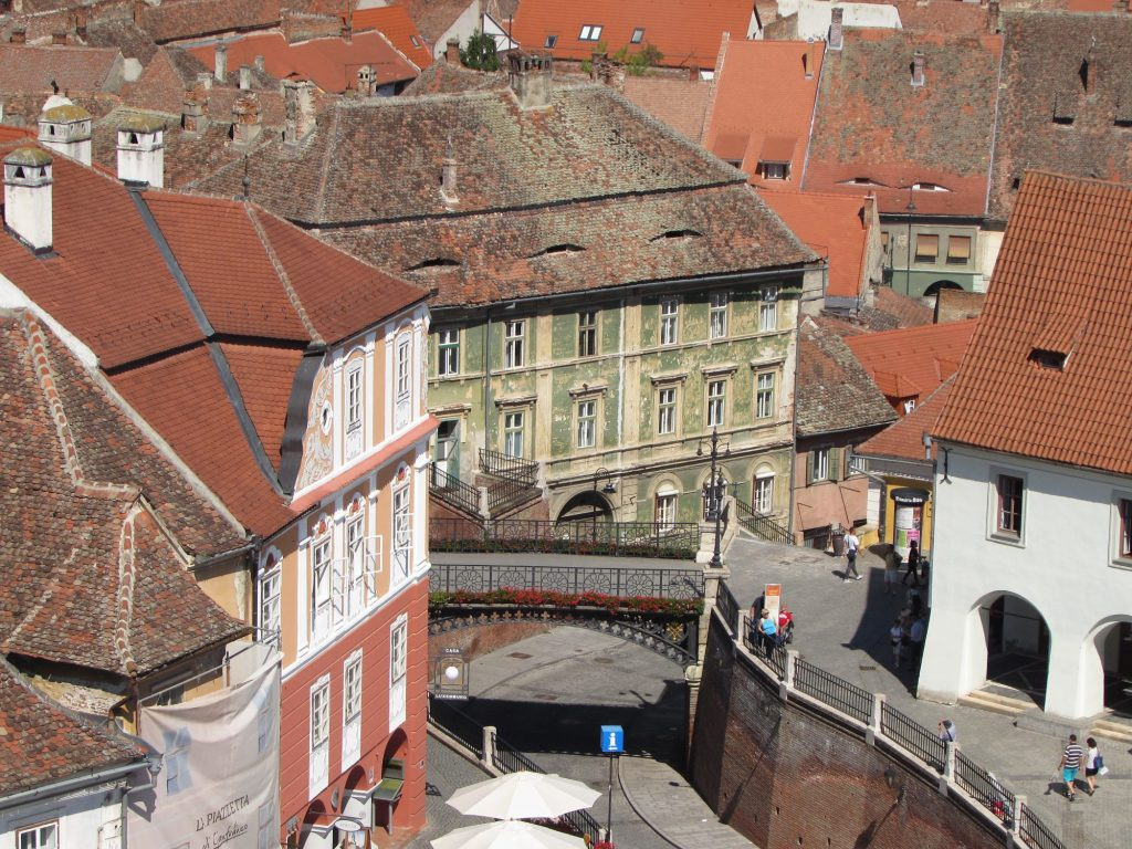Puente de las mentiras desde la torre del ayuntamiento de Sibiu