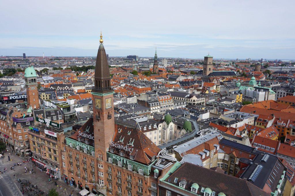 Vistas desde la torre del ayuntamiento de Copenhague