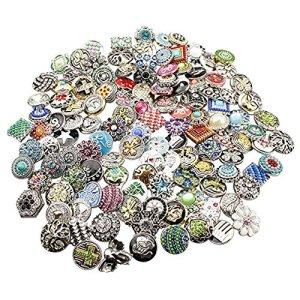 Soleebee mixte aléatoire 18mm alliage strass boutons pression Bijoux Charms Accessoires bricolage 50pcs