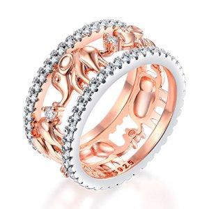 Impression 1Pcs Anneaux Anneau éléphant animal anneau de diamant de mode anneau de cristal Girl Accessoires de la bijouterie jour de la Saint Valentin Cadeaux de mariage anneau ouvert A