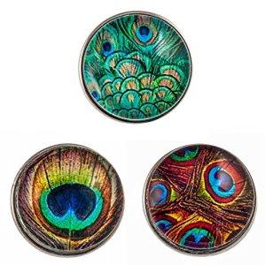 Morella click-button Lot de 3boutons pression pour bijou plumes de paon