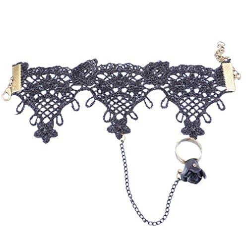 Yazilind vintage sexy Rose Fleur Noir Dentelle Slave Bracelet avec anneau? Chaîne en métal