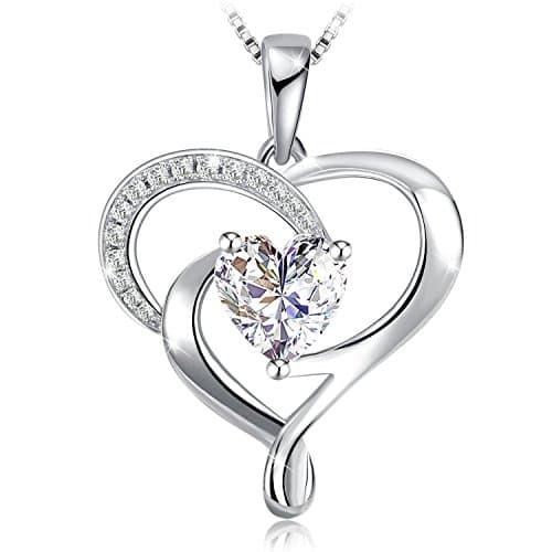 c94373a8a6874 Collier, J.Rosée Argent 925 Bijoux Femme/Fille 5A Zirconium cubique Blanc,  Pendentif coeur, Chaîne 45+5cm Cadeau parfait L'Ange gardien