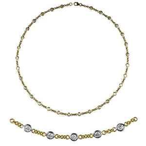JewelryWeb Or 750 or jaune 750/1000 (18 cts) Rond HI Diamant blanc
