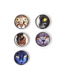 Bijou Bouton à Pression métal – Bijoux interchangeable – motif chat – 18mm Snaps – Différent coloris – Lot de 5pcs – Mon-bijou-pression