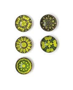 Bijou Bouton à Pression métal – Bijoux interchangeable – motif mandala vert – 18mm Snaps – Différent coloris – Lot de 5pcs – Mon-bijou-pression