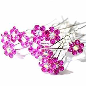 Haute qualité. «ROSE FUSHIA» Fleur Cristal Strass Mariage épingles à cheveux décorées de 20 épingles Par Trendz