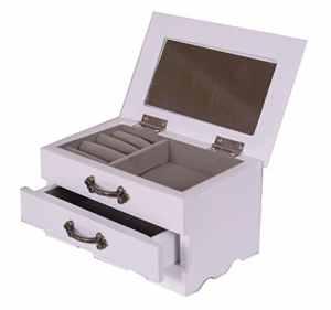 Boîte à bijoux en bois 1tiroir Coque/cabinet/à bijoux avec miroir Petite