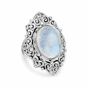 Bling Jewelry style Vintage ovale en Argent Sterling Bague Pierre de lune arc-en-ciel