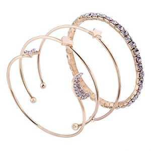 Godagoda 4pcs Bracelet Femme Fille Décoration Mains Style Simple avec Strass Décorer Étoiles Lune Coeur Ouvert Or