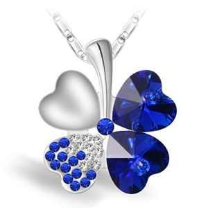 Joyfulshine Collier Pendentif Femmes,Bleu foncé Cristal Collier Trèfle à Quatre Feuilles,Cadeau de Chaîne Plaqué Or Blanc 18K pour des Filles de Dames