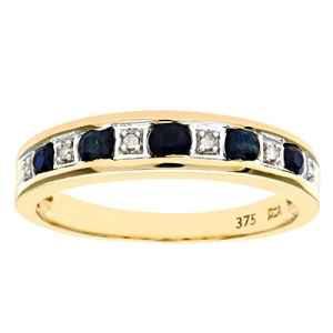 Bague Femme – Or jaune (9 carats) 2.45 Gr – Saphir – Diamant 0.02 Cts – T 53