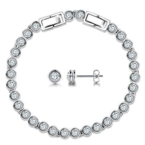 1ac4af4357123 GEORGE · SMITH bijoux pour femmes Bracelets de tennis en argent sterling 925  Ensembles de boucles d'oreilles avec cristaux de Swarovski Cadeaux ...