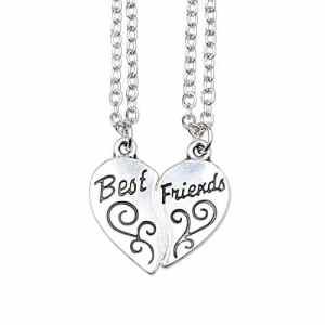 ISHOW Tonalité Argentée Meilleurs Amis BFF «Best Friends» Coeur Fendu Pendentif Collier (2 pcs)