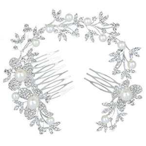 Clearine Classique Intemporel Marguerite Fleur Foliacé Cristaux Perle Artificielle Peigne à Cheveux Réglable Mariage Cheveux Bijou