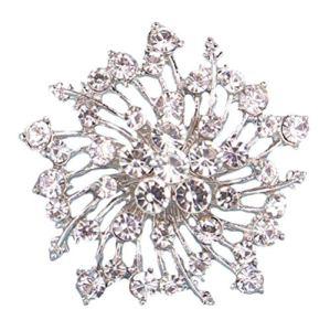 Hoveey 1X Belle fleur corsage creux Charmante femme broche strass Accessoires de cheveux Terrific