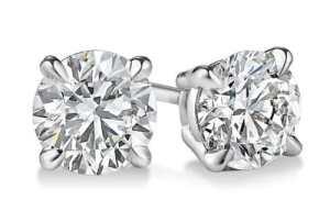 14K Or blanc diamant coupe ronde Boucles d'oreille à tige 1.93CT, H-I Couleur, SI2Clarté