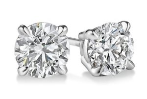 14K Or blanc diamant coupe ronde Boucles d'oreille à tige 1.1CT, E-f Couleur, Vs1-vs2Clarté