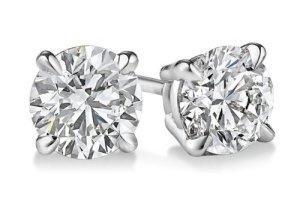 14K Or blanc diamant coupe ronde Boucles d'oreille à tige 2nd Outlet, BuyFineDiamonds F-G Couleur, SI3Clarté