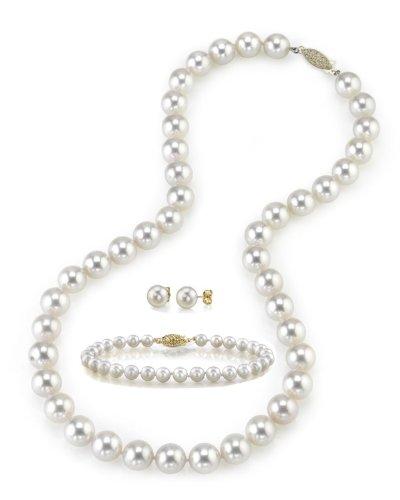 8,0-8,5mm HANADAMA Blanc Perle Akoya Ensemble collier, bracelet et boucles d'oreilles, 43,2cm Longueur Princesse