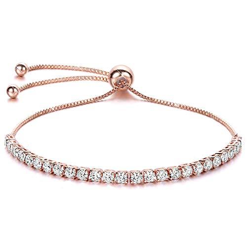 J.Fée Réglable Bracelet Bracelet en Or Rose avec 5A Zircon Cubique Bijoux en Or Rose Gold Bracelet – Grand Cadeau de fête des mères Anniversaire Graduation pour Les Femmes Petite Amie Fille