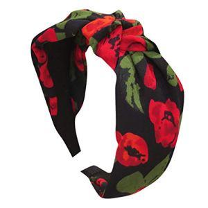 MAWOLY Bandeau pour femme en tissu non-tissé avec fleurs et feuilles – Couleur unie – Bandeau doux – Bandeau en cristal – Accessoire pour cheveux – – Taille unique