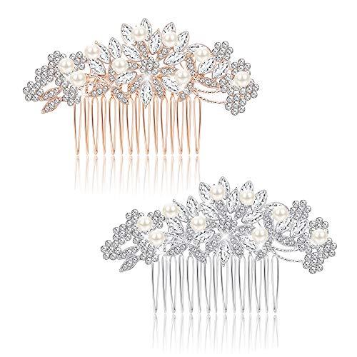Milacolato Peigne à Cheveux de Mariage Vintage Fait en Cristal Tchèque et Blanc Simulé Perle Accessoires de Cheveux Demoiselles d'honneur