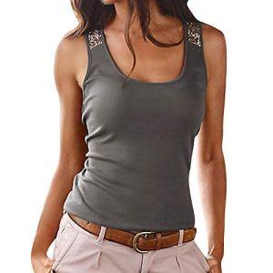 YiYlunneo T-Shirt Femme Tops Blouse Col Rond Femme Camisole Été Chemisier Paillette Couleur Unie Casual Tee Hauts Tank Vest Débardeurs d'été.