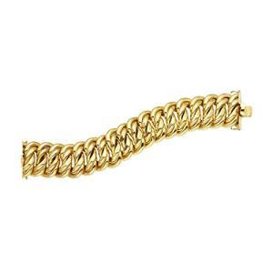 Bracelet tissé en or jaune 14 carats 33 mm avec fermoir boîte – 23 cm