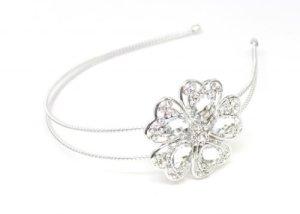 Lux Accessoires Pierre à motif fleur métallique bandeau