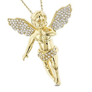Luxurman 14K Solid Natural Diamond Unisex Pendant Small Baby Angel Charm (Yellow Gold)
