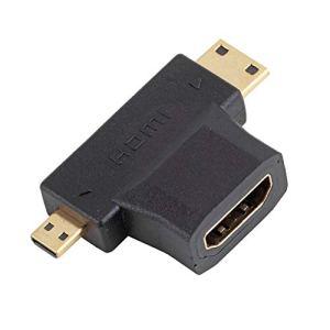 Peanutaor Portable HDMI Femelle vers Mini-Micro HDMI mâle V1.4 90 degrés 2 en 1 Adaptateur plaqué Or Noir Femelle au convertisseur mâle