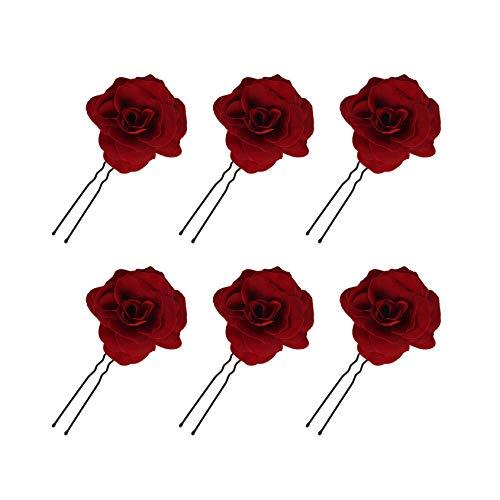 Pince à Cheveux Fleur Femmes Rose Fleur Accessoires de Cheveux de Mariage Clip de Cheveux Danseur de Flamenco, Accessoire de Mariage Fait main Fête 6 Pièces (Rouge)