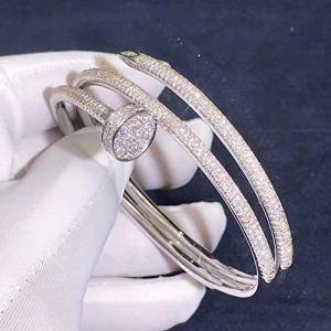 Just Un Clou Bracelet de fiançailles en or blanc 14 carats avec diamants ronds 3,61 carats