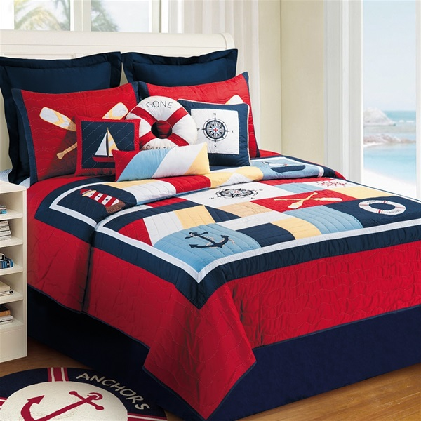 Sail Away Handcrafted Quilt Lighthouse Boats Anchor Nautical Quilt
