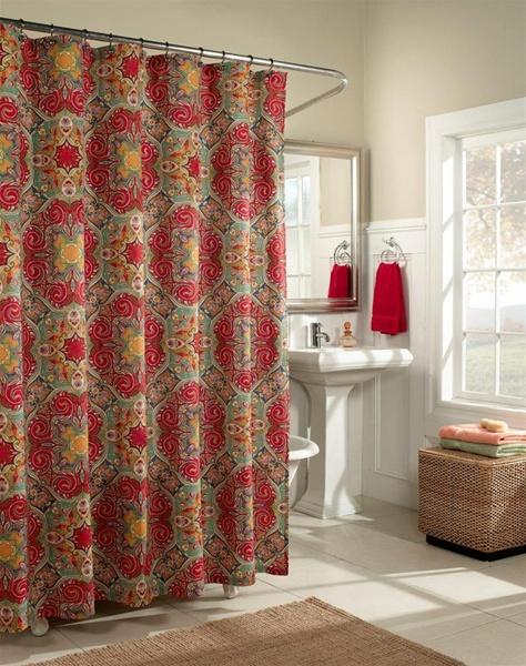 Kashmir Shower Curtain Fashion ColorsMoroccan Influenced Designer Tile Pattern 100 Cotton