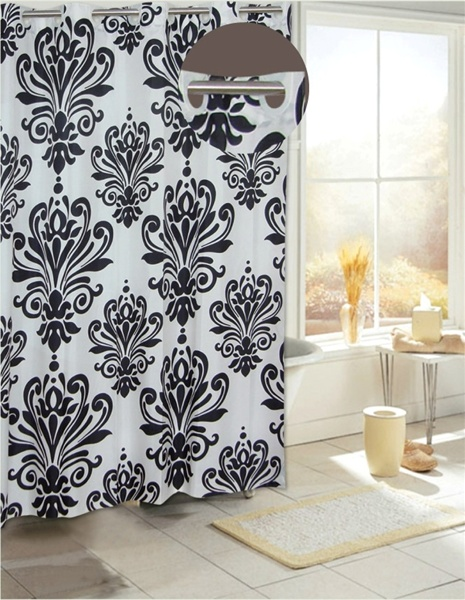 beacon hill black white fabric hookless shower curtain