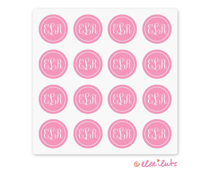 Printable Monogram Stickers Or Seals Pink