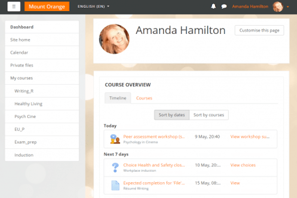 Moodle Dashboard