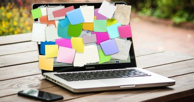 Laptop with sticky notes
