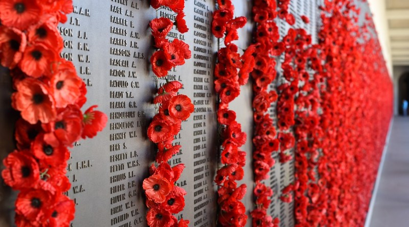 The Wall of Remembrance at the Australian War Memorial.