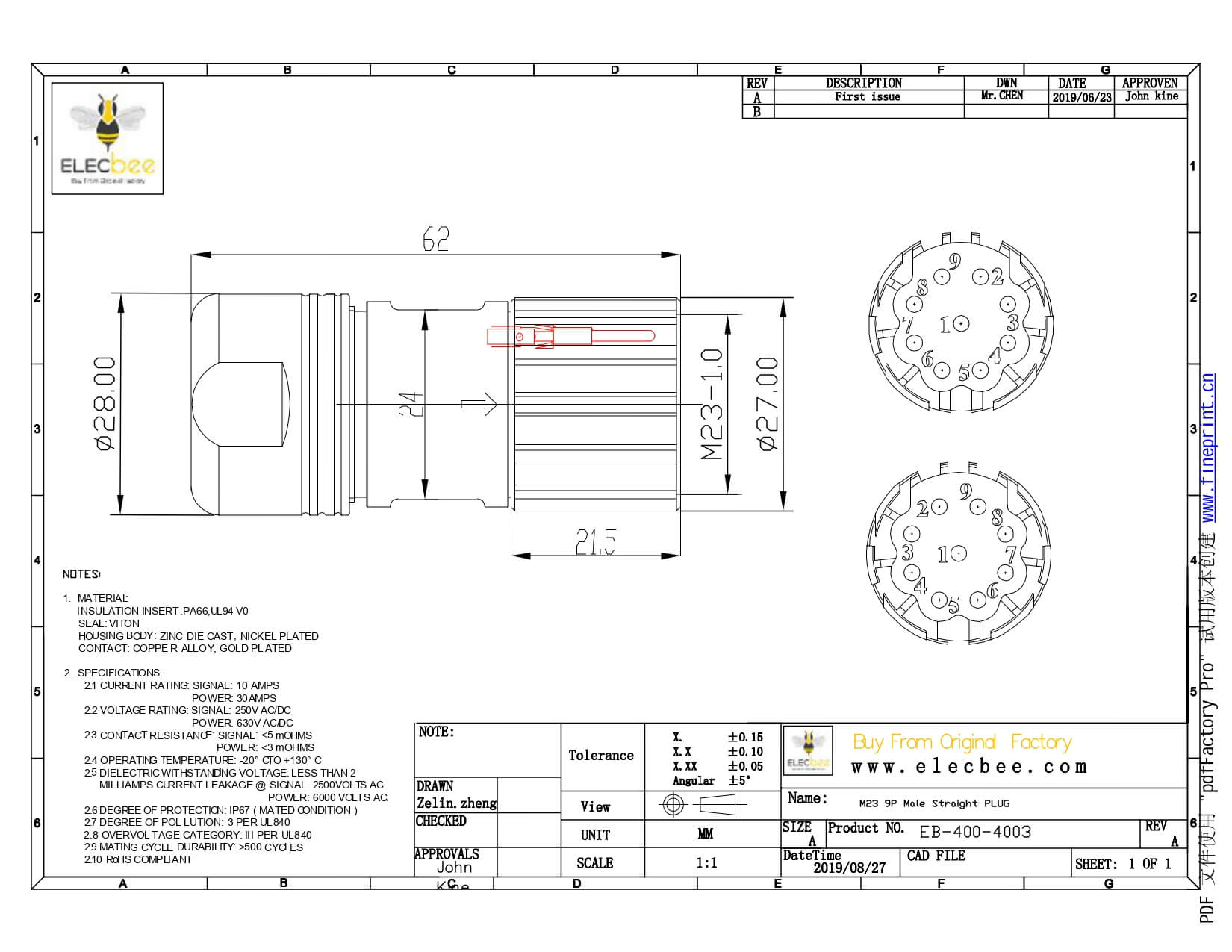 M23 Connector Screw Locking Solder Type 9pin Male Plug 623f 9a