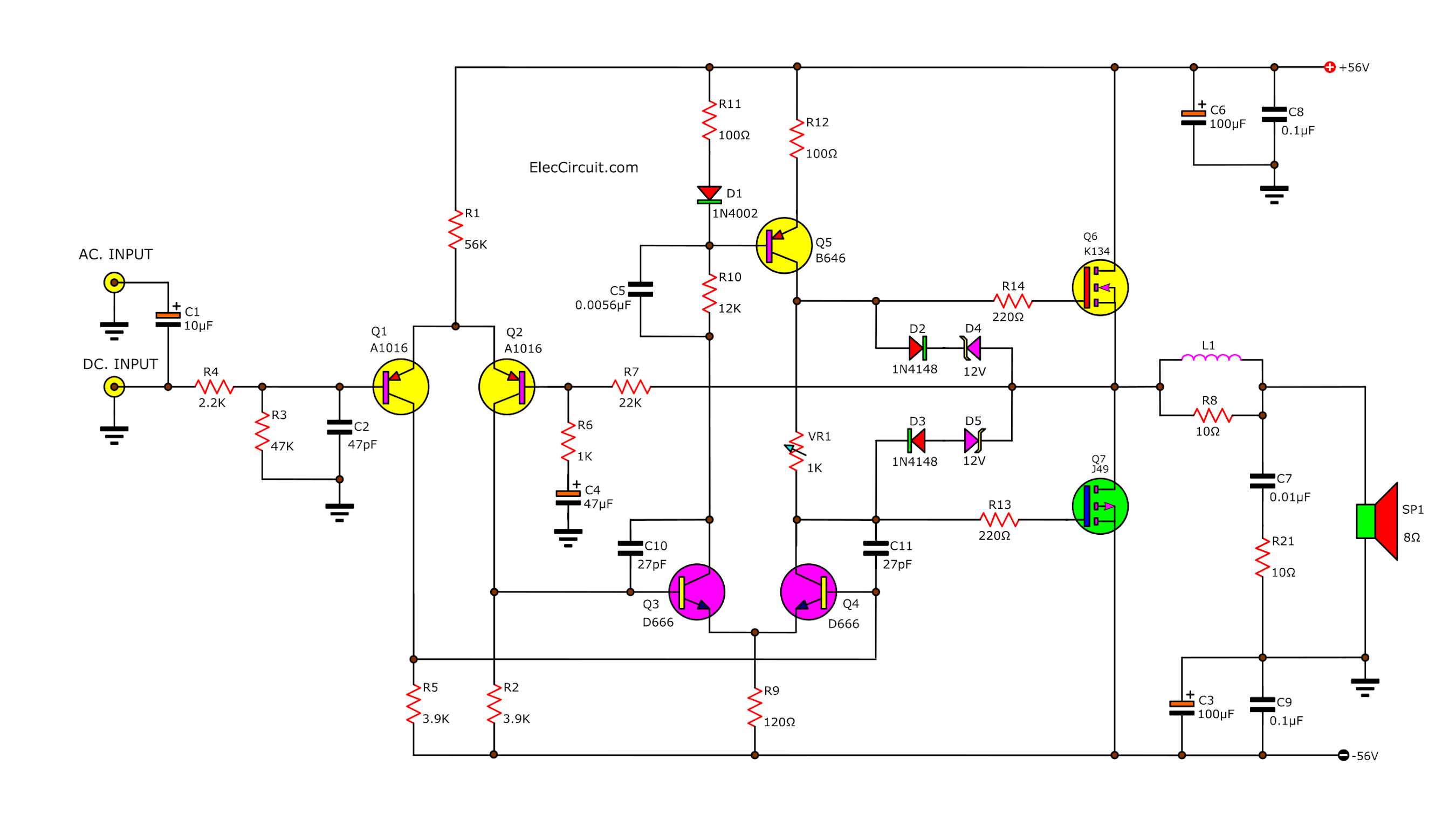 The Many Ideas Of 100 Watt Amplifier Circuit Electronic Projects Circuits
