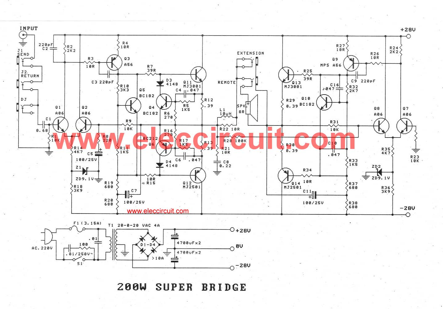 High Power Amplifier Circuit Ideas Using Transistors 100w To 300w