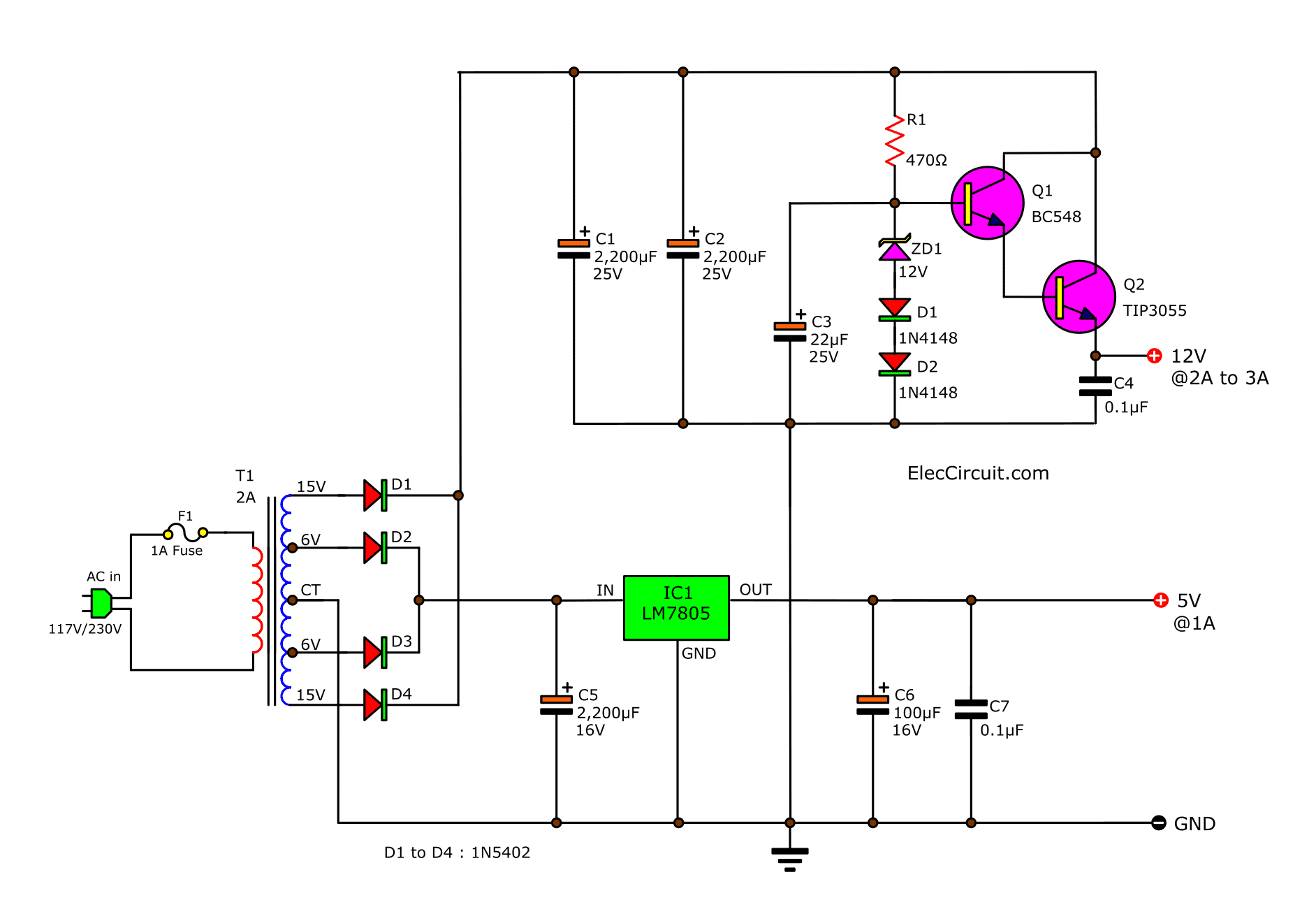 5v 12v Dual Power Supply Circuit Using 2n Lm309