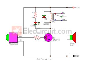 PIR motion sensor alarm circuit